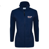 Columbia Ladies Full Zip Navy Fleece Jacket-Salem State Vikings Word Mark