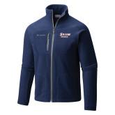 Columbia Full Zip Navy Fleece Jacket-Salem State Vikings Word Mark