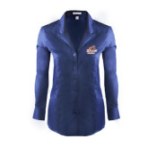 Ladies Red House Deep Blue Herringbone Non Iron Long Sleeve Shirt-Primary Logo