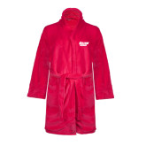 Ladies Pink Raspberry Plush Microfleece Shawl Collar Robe-Salem State Vikings Word Mark