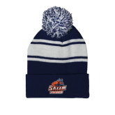 Navy/White Two Tone Knit Pom Beanie w/Cuff-Primary Logo