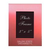 Pink Brushed Aluminum 3 x 5 Photo Frame-Salem State University Stacked Engraved