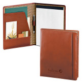 Cutter & Buck Chestnut Leather Writing Pad-Institutional Mark Vertical Engraved