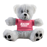 Plush Big Paw 8 1/2 inch White Bear w/Pink Shirt-Salem State Vikings Word Mark