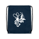 Navy Drawstring Backpack-Fighting Bee