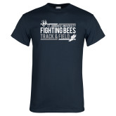 Navy T Shirt-Fighting Bees Track and Field