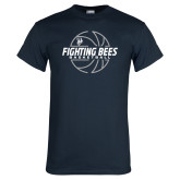 Navy T Shirt-Fighting Bees Basketball