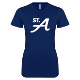 Next Level Ladies SoftStyle Junior Fitted Navy Tee-St A