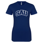 Next Level Ladies SoftStyle Junior Fitted Navy Tee-SAU