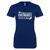 Next Level Ladies SoftStyle Junior Fitted Navy Tee-Fighting Bees Track and Field