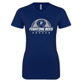 Next Level Ladies SoftStyle Junior Fitted Navy Tee-Fighting Bees Soccer