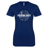 Next Level Ladies SoftStyle Junior Fitted Navy Tee-Fighting Bees Basketball