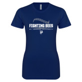 Next Level Ladies SoftStyle Junior Fitted Navy Tee-Fighting Bees Ball Threads