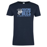 Ladies Navy T Shirt-Fighting Bees