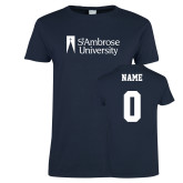 Ladies Navy T Shirt-Primary Mark, Custom Tee w/ Name and #
