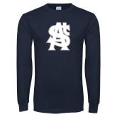 Navy Long Sleeve T Shirt-St A Baseball Logo