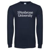 Navy Long Sleeve T Shirt-St Ambrose University
