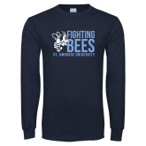 Navy Long Sleeve T Shirt-Fighting Bees