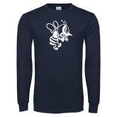 Navy Long Sleeve T Shirt-Fighting Bee Distressed