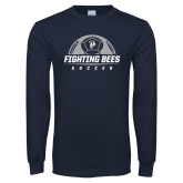Navy Long Sleeve T Shirt-Fighting Bees Soccer