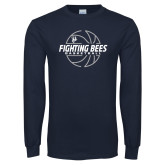 Navy Long Sleeve T Shirt-Fighting Bees Basketball