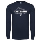 Navy Long Sleeve T Shirt-Fighting Bees Ball Threads