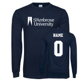 Navy Long Sleeve T Shirt-Primary Mark, Custom Tee w/ Name and #s