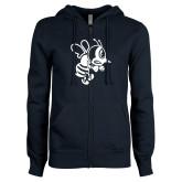 ENZA Ladies Navy Fleece Full Zip Hoodie-Fighting Bee