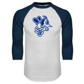 White/Navy Raglan Baseball T Shirt-Fighting Bee
