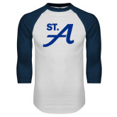 White/Navy Raglan Baseball T Shirt-St A