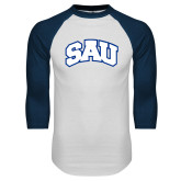 White/Navy Raglan Baseball T Shirt-SAU