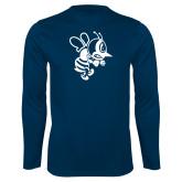Performance Navy Longsleeve Shirt-Fighting Bee