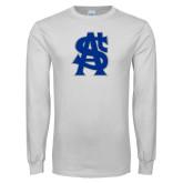 White Long Sleeve T Shirt-St A Baseball Logo