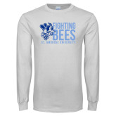 White Long Sleeve T Shirt-Fighting Bees