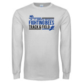 White Long Sleeve T Shirt-Fighting Bees Track and Field