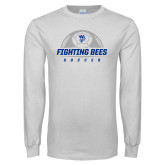 White Long Sleeve T Shirt-Fighting Bees Soccer