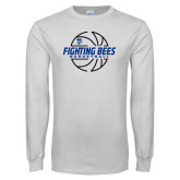 White Long Sleeve T Shirt-Fighting Bees Basketball