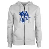ENZA Ladies White Fleece Full Zip Hoodie-Fighting Bee