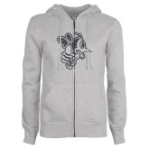 ENZA Ladies Grey Fleece Full Zip Hoodie-Fighting Bee Glitters Graphite Soft Glitter