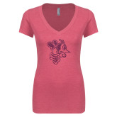 Next Level Ladies Vintage Pink Tri Blend V Neck Tee-Fighting Bee Glitters Pink Glitter