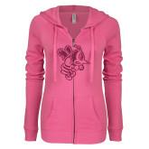 ENZA Ladies Hot Pink Light Weight Fleece Full Zip Hoodie-Fighting Bee Glitters Hot Pink Glitter
