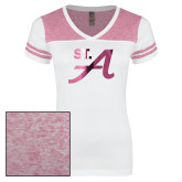 Ladies White/Heathered Pink Juniors Varsity V Neck Tee-St A  Foil