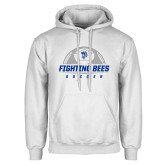 White Fleece Hoodie-Fighting Bees Soccer