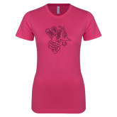 Ladies SoftStyle Junior Fitted Fuchsia Tee-Fighting Bee Glitters Hot Pink Glitter