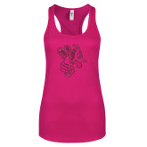 Next Level Ladies Raspberry Ideal Racerback Tank-Fighting Bee Glitters Hot Pink Glitter