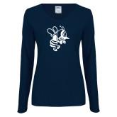 Ladies Navy Long Sleeve V Neck Tee-Fighting Bee