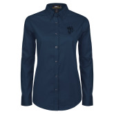 Ladies Navy Twill Button Down Long Sleeve-Fighting Bee