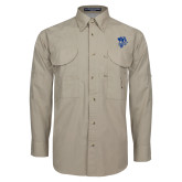 Khaki Long Sleeve Performance Fishing Shirt-Fighting Bee