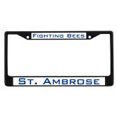 Metal License Plate Frame in Black-Fighting Bees