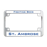 Metal Motorcycle License Plate Frame in Chrome-Fighting Bees